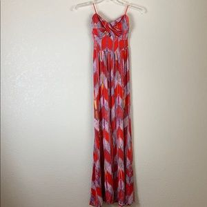 Guess Strapless Bandeau Tribal Design Maxi Dress